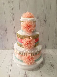 Coral, Gold, and Aqua Chic Diaper Cake Centerpiece