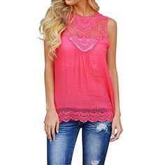 d40e160a780 Weixinbuy Womens Lace Tops T-shirt Sleeveless Vest Tank Chiffon Blouse Tee  shirt Pink Lace