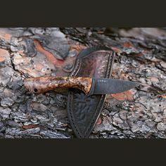 3 Finger knife with acid etched/stonewashed 1095 blade and stabilized spalted maple scales.  Hand tooled leather pocket sheath.  #knives #knivesofinstagram #knifecommunity #knifeporn #everydaycarry #tactical #leathercraft #leatherwork #bushcraft #hunting