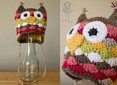 Cuckoo Kinder: Shell stitch crochet owl hat! Gorgeous!