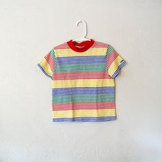 vintage boys oshkosh primary colors striped shirt
