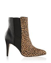 Leopard Black Leather Bootie
