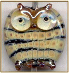 Snakeskin Owl ~Morgan~ Focal Handmade Glass Lampwork Bead Handmade SRA W79 :)♥♥♥