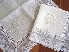 Wedding Handkerchief Ivory Color Irish Linen Lace With Monogram And Date