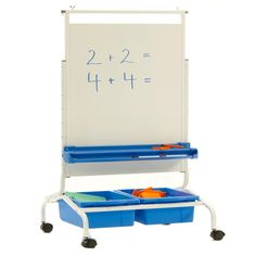 With a double-sided magnetic dry erase board, (2) Open Tubs, book ledge and chart hooks, this teaching easel offers everything you'll need to present engaging lessons in your classroom. #CS700