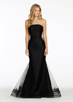 Black tulle over mikado trumpet gown, straight neckline, jewel detail at natural waist, floral organza embroidery, horsehair finished hem Noir by Lazaro