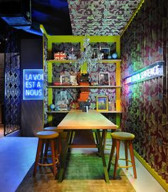 enjoy a world of possibilities in far-flung Greece at travel-mad bar, Away Komotini. Bao Restaurant, Chinese Restaurant, Restaurant Design, Restaurant Interiors, Bao Bar, Bars And Clubs, All That Matters, Restaurants, Food Places