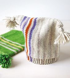 """Free Pattern for a Striped Baby Hat. Want to try adapting this for an adult and maybe putting in an """"owl cable"""" design..."""