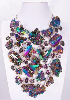 Mystic Quartz & Titanium Treated Quartz Necklace by Charles Albert