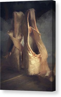Ballet Shoes Canvas - Realistic, vintage digital painting in Vincent van Gogh style, painted with real brush strokes using light antique pink and brown color tones. Also available as poster, framed prints, metal prints and more. Click through to see the options. #ballet #balletshoes #balletslippers #balletcanvas #balletwallart #canvasprintsforsale Vintage Ballet, Vintage Art, Stretched Canvas Prints, Framed Prints, Art Prints, Pink Ballet Shoes, Diana, Thing 1, Painted Shoes