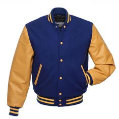 Royal Blue Wool and Gold Leather Letterman Jacket - C135 US ($160) ❤ liked on Polyvore featuring outerwear, jackets, blue jackets, gold jacket, blue varsity jacket, royal blue leather jacket and blue leather jacket