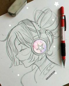 trendy ideas for anime art music drawings Music Drawings, Girly Drawings, Anime Girl Drawings, Manga Drawing, Art Drawings Sketches Simple, Pencil Art Drawings, Sketches Of Girls, Drawing Ideas, Cartoon Kunst