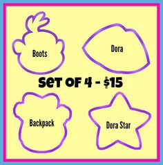 "3.5"" Dora Set of 4 - Piping Mad Prints"