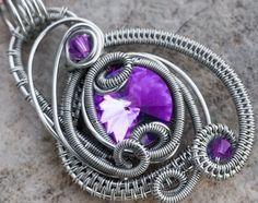 Tanzanite Swarovski Crystal Purple Wire by NicoleHannaJewelry