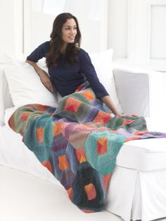 Sunset Diamonds Afghan By Irina Poludnenko - Free Knitted Pattern - (joann. Afghan Patterns, Knitting Patterns Free, Free Knitting, Free Pattern, Crochet Patterns, Crochet Ideas, Crochet Home, Crochet Yarn, Knitting Yarn