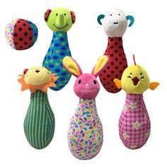 2017 new 6Pcs/set 18cm Baby Toy Plush Doll stuffed Bowling animals rattles game baby children Cartoon Animal Education gifts