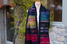 nuno felted scarf with sari silk Nuno Felt Scarf, Felted Scarf, Sari Silk, Nuno Felting, Vest, Crochet, Jackets, Fashion, Down Jackets