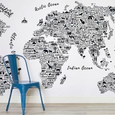 Black and White Typography Map Square