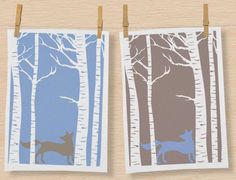 """In the Woods"" range by Magpie Design Studios features cute, enigmatic forest animals prowling between spirited birch trees giving that mystical feeling of the woods. Set of 2 Fox tea towels £12.00"