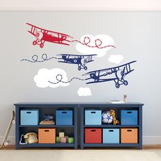 3 VINTAGE BIPLANES in 2 different colors + CLOUDS Removable vinyl that look as if if was painted on the wall! Fairly easy installation of vinyl