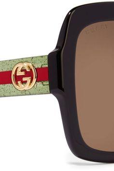 Gucci - Oversized Square-frame Glittered Acetate Sunglasses - Black - one size