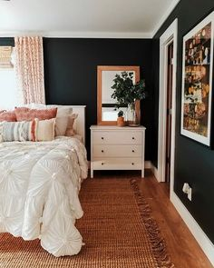 Really really enjoy our new bedroom layout but man I miss my thick black shiplap being behind the bed. Maybe we just need to add more 👀 also trying to decide if the curtains are too spring / summer for all year? I know some people swap them as seasonal d My New Room, My Room, Dorm Room, Home Interior, Interior Design, Simple Interior, Kitchen Interior, Kitchen Design, Bedroom Layouts