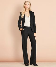 Stretch Wool One-Button Jacket - Brooks Brothers Business Professional Women, Professional Attire, Business Attire, Business Fashion, Business Formal, Business Casual, Office Fashion, Work Fashion, Suits For Women