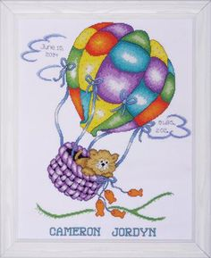 Design Works Balloon Cat Sampler - Cross Stitch Kit. Cross Stitch Kit contains: 100% cotton 14 count Aida, cotton floss, needle, alphabet and complete instructi