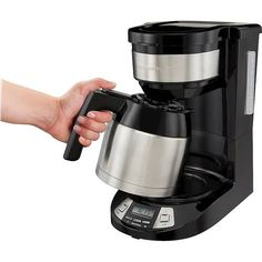 Get your caffeine fix with this Hamilton Beach programmable coffee maker. The three brew settings let you easily customize each batch, while the thermal carafe keeps your beverage warm without altering the flavor. This Hamilton Beach programmable coffee maker has a pause function to interrupt brewing for a quick cup of instant enjoyment. Thermal Coffee Maker, Drip Coffee Maker, Hamilton Beach, Coffee Type, Carafe, Brewing, Cool Things To Buy, Caffeine, Beverage