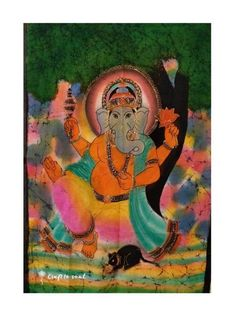 Ganesha Tapestry A well- respected and highly worshipped God with Hindu followers, Ganesha has found influence within the western world. Incorporating lively colours usually associated with marriage, this deity's wisdom will shine through in any room this tapestry is fortunate enough to be hung.  100% Cotton fabric Stone-wash print Usage: Tapestry, Wall Hanging Made in India Western World, Tapestry Wall Hanging, Ganesha, Deities, Followers, Cotton Fabric, Marriage, Wisdom, Colours