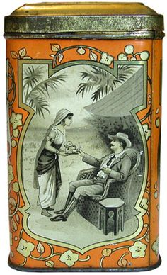 Brooke Bond Co. tea tin, side panel depicts woman in oriental dress serving tea tray to man dressed as British colonial, c. early 20th century