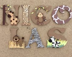 These wooden letters are customized to your needs, and in the case of these wood initials they are all about taking a safari! Whether you are in the market for boy or girl safari décor, children's room décor, or just a set of wooden letters with a safari Baby Boy Nursery Themes, Baby Boy Nurseries, Baby Shower Themes, Baby Boy Shower, Nursery Decor, Baby Decor, Shower Ideas, Nursery Boy, Safari Bedroom