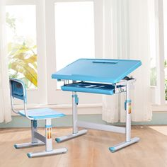 Amazon.com: I STUDY Height Adjustable Children's Desk and Chair Set For Kids Work Station, Study Area (Blue): Kitchen & Dining