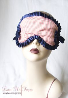 I love this - had to share: Melodie' Sailor inspired Sleep mask in red stripes and navy blue  by Love Me Sugar