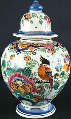 Vintage 1950 Holland Ginger Jar Vase / Majolica Delftware / Polychrome / Velsen