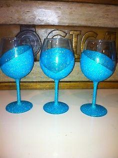 mod podge, blue glitter, wine glasses