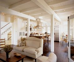 House dash Home: Basement Remodel: Painting The Exposed Ceiling White Exposed Basement Ceiling, Exposed Ceilings, Exposed Beams, Ceiling Beams, Warm Kitchen, Open Kitchen, Kitchen Living, Island Kitchen, Dreams