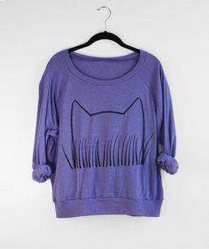 Purple Womens Cat Sweatshirt Cat Sweater Radiant by Xenotees, $33.99