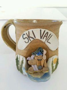 Vail Mug Handcrafted Stoneware Pottery 3D Winter Scene Skier Vintage Souvenir
