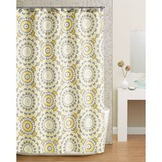 Hometrends Global Floral Fabric Shower Curtain, Yellow
