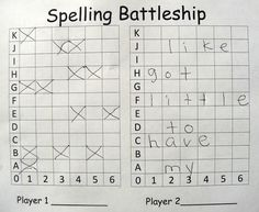 Spelling Battleship - each play writes a secret message on the right side, and takes turns guessing the opponents hidden letters on the left side - such a great idea!