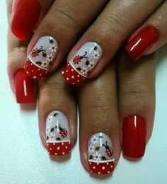 Nail art on a client Rs 1500 only Fingernail Designs, Toe Nail Designs, Gel Nail Art, Fancy Nails, Cute Nails, Pretty Nails, Spring Nail Art, Spring Nails, Ladybug Nails