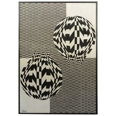 Black and White Op Art Oil on Canvas | From a unique collection of antique and modern paintings at https://www.1stdibs.com/furniture/wall-decorations/paintings/