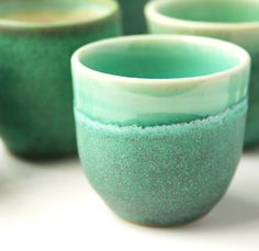 Green ceramic shot cups by DMPottery on Etsy