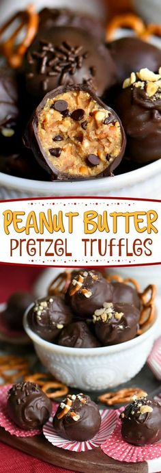 It s not a party without these easy Peanut Butter Pretzel Truffles Extra creamy and delicious and loaded with peanut butter chocolate chips and pretzels The ultimate sweet and salty combination Mom On Timeout FritoLay Baking Recipes, Cookie Recipes, Dessert Recipes, Jello Recipes, Kid Recipes, Whole30 Recipes, Vegetarian Recipes, Healthy Recipes, Cooking Recipes For Kids