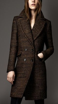 Oversize Herringbone Tweed Pea Coat | Burberry