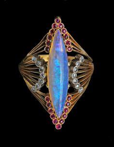 HENRI SANDOZ. Superb Art Nouveau Ring - Gold, Opal, Ruby, & Diamond c. 1900. France
