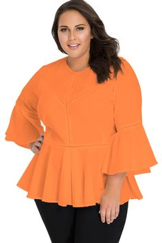 acad6f54e55d2 New Style Added to Our Catalog  Orange Crochet Insert Bell Sleeve Plus Size  Top!