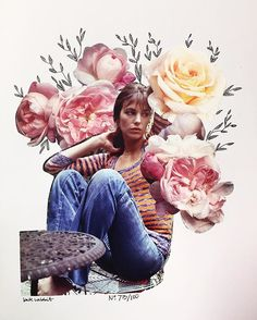 Day 73 of #the100dayproject // Jane Birkin // flower collage by kate rabbit