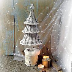 Купить Елочка Заснеженная плетеная новогодняя - елочка новогодняя, елка…